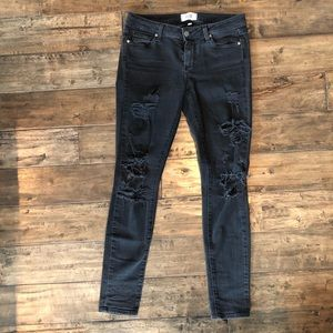 Paige black distressed verdugo ultra skinny